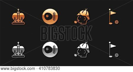 Set British Crown, Breakfast, Sherlock Holmes And Golf Flag Icon. Vector