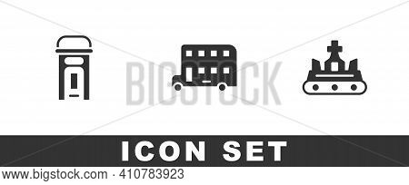 Set London Phone Booth, Double Decker Bus And British Crown Icon. Vector