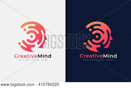 Creative Mind Logo Design. Abstract Tech Circle Combined With Face Silhouette. Usable For Business B