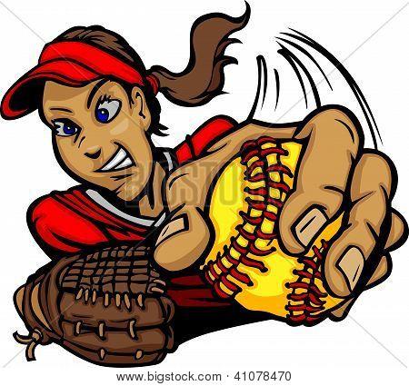Softball Pitcher Cartoon Vector Illustration