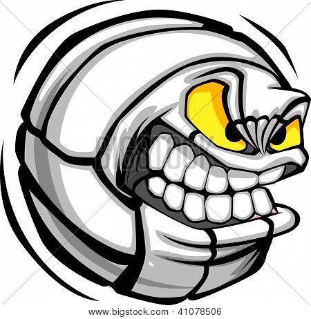 Volleyball Ball Face Cartoon Vector Image