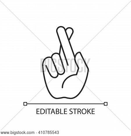 Crossed Fingers Linear Icon. Hand Gesture Used To Wish For Luck. Keep Your Fingers Crossed. Thin Lin