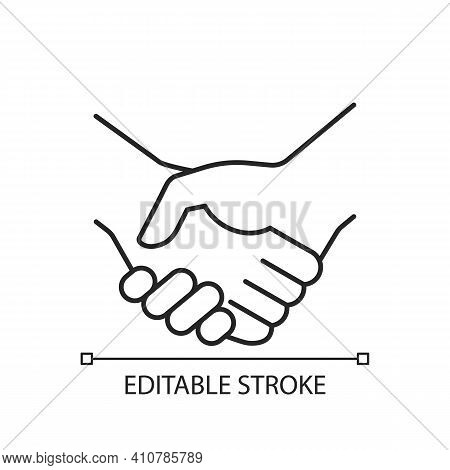 Handshake Linear Icon. Successful Business Deal. Partnerships. Mutually Beneficial Deal. Thin Line C