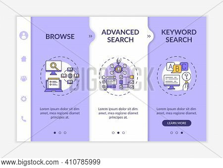 Online Library Search Types Onboarding Vector Template. Optimizing Browsing And Advanced Search. Res