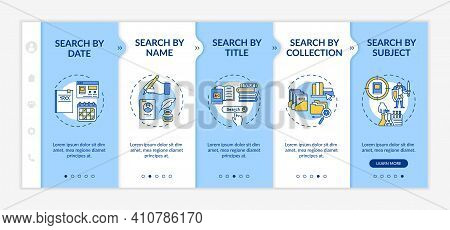 Online Library Search Types Onboarding Vector Template. Browse. Advanced Search. Keyword Search .res