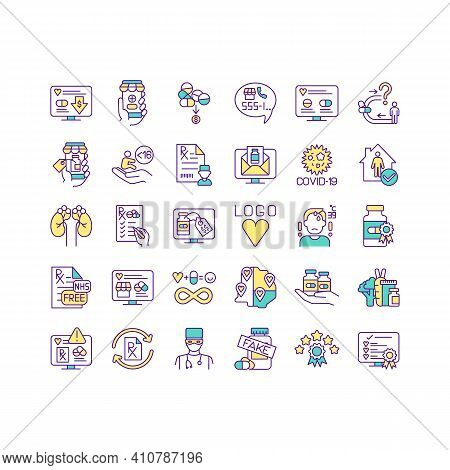 Buying Medicine Online Rgb Color Icons Set. Choose Reputable Pharmacies. Safe Online Pharmacy. Docto
