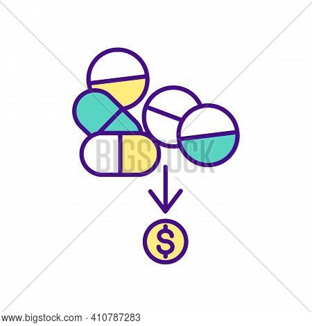 Multicolored Pills With Dollar Rgb Color Icon. Online Pharmacy. Getting Remedy From Home. Contaminat