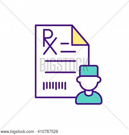 Prescription Medicine Rgb Color Icon. Getting Doctors Prescription. Online Pharmacy. Blank Form. Dru