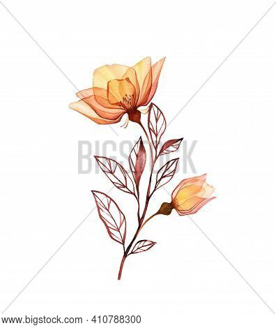 Watercolor Rose Branch. Vintage Yellow Flowers With Bud And Leaves Isolated On White. Hand Painted F