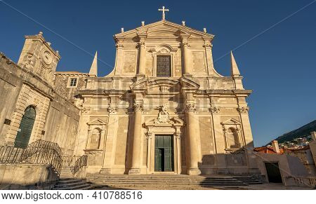 Facade Of St. Ignatius Church By Jesuit Stairs In Old Town Dubrovnik In Croatia Morning Sunrise