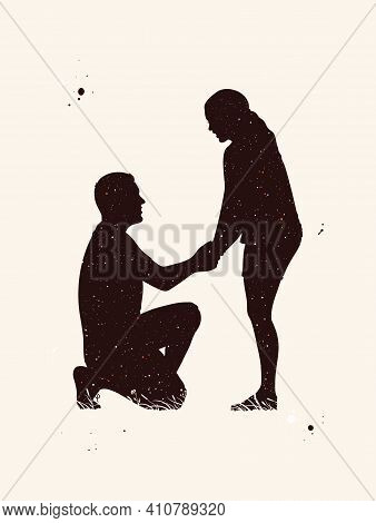 Loving Couple Abstract Silhouette. Marriage Proposal. Night Starry Sky
