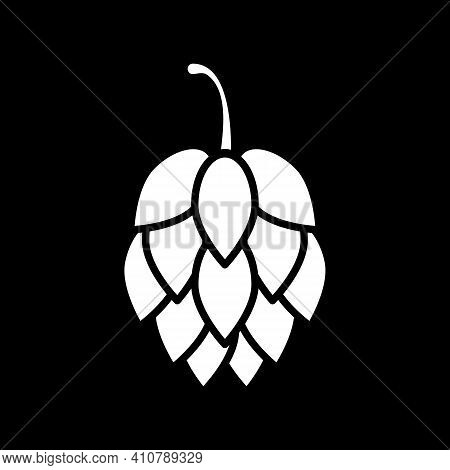 Hop For Beer Brewing Dark Mode Glyph Icon. Ingredient For Alcohol Production. Fresh Artichoke For Co