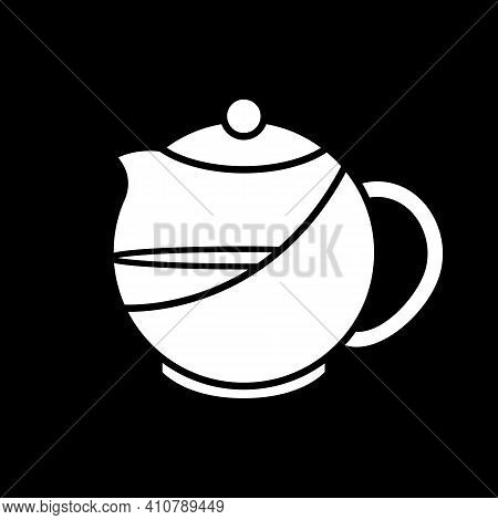 Kettle With Tea Dark Mode Glyph Icon. Teapot With Liquid. Teakettle With Water. Brewing Tea In Class