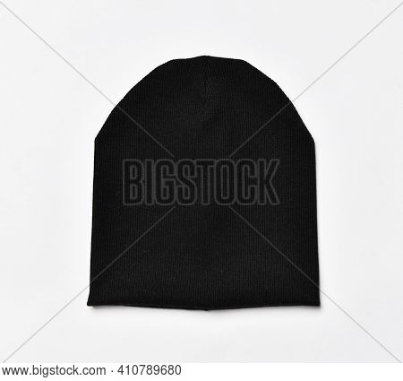 Modern Knitted Black Beanie Hat, Knitwear Isolated On White