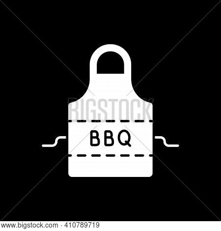 Bbq Apron Dark Mode Glyph Icon. Protective Garment For Cooking. Safety Clothing For Barbecue Cookery