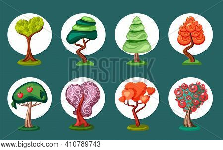 Fantastic Geometric Bonsai Trees Set. Cone Green Spruce With Bush Red Flower Hearts For Game Design