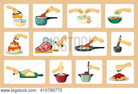 Hands Preparing Culinary Masterpieces Set. Neat Slicing Of Smoked Ham Frying Scrambled Eggs And Whip