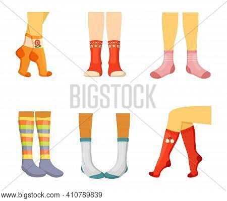 Stylish Socks On Legs Set. Elegant Womens Red Textiles With Decorative Pompoms Funny Striped Teenage