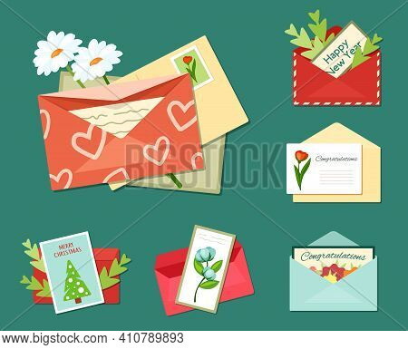 Greeting Letters With Floral Cards Set. Bright White Daisies Envelope With Red Hearts Decorative Gre