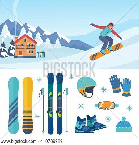 Ski And Snowboarding Set. Stylish Descent Boards And Professional Skiing With Poles Protective Blue