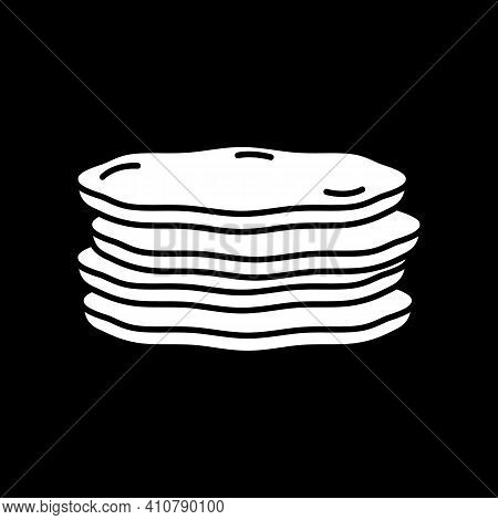 Pancakes Stack Dark Mode Glyph Icon. Breakfast Food. Baked Pastry. Sweet Cakes. Serving Lunch, Diner