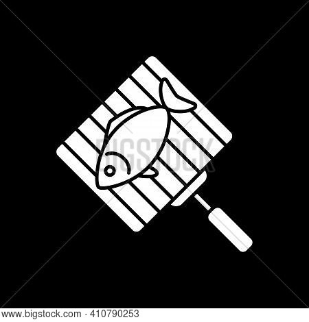 Fish On Grill Grate Dark Mode Glyph Icon. Barbecue Seafood. Roasting Tuna. Bbq Cookery. Salmon On Gr