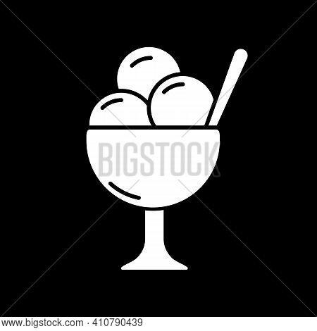 Ice Cream In Bowl Dark Mode Glyph Icon. Sundae Treat. Gelato Scoops In Cup. Sweet Summer Refreshment
