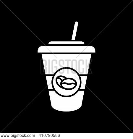 Ice Latte Dark Mode Glyph Icon. Coffee Drink In Take Out Cup. Americano To Go In Disposable Mug With