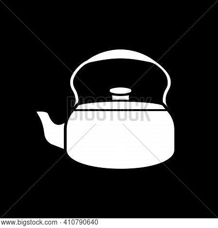 Tea Kettle Dark Mode Glyph Icon. Teakettle For Drink Brewing. Kitchen Appliance. Home Kitchenware. B