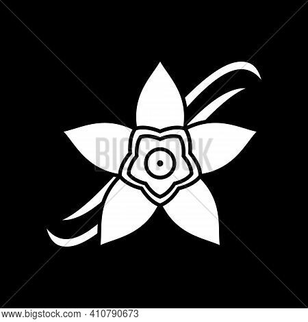 Vanilla Flower Dark Mode Glyph Icon. Orchid For Aromatherapy, Scented Plant. Sweet Fragrance. Condim