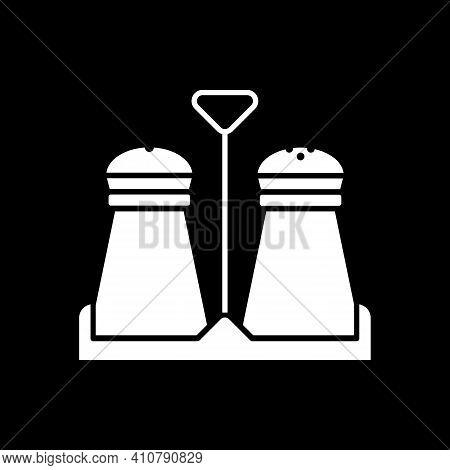 Salt And Pepper Shakers In Holder Dark Mode Glyph Icon. Seasoning Ingredient. Condiment In Glass Jar