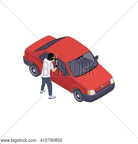 Gang Crime Robbery Stealing Isometric Composition With Image Of Car And Character Of Robber With Swo