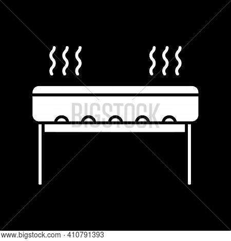 Barbecue Grill Dark Mode Glyph Icon. Outdoor Cooking Appliance. Oven For Picnic Cookery. Heater To R