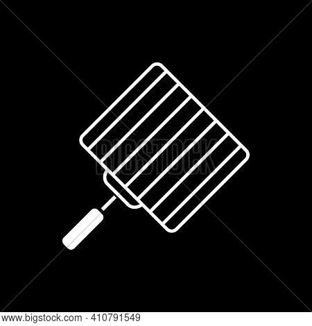 Grill Grate Dark Mode Glyph Icon. Barbecue Grid For Cooking Meat. Bbq Appliance. Utensil For Cookery