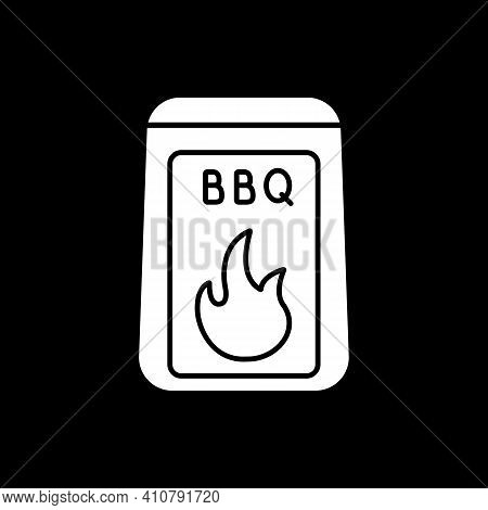Barbecue Starter Supply Dark Mode Glyph Icon. Barbeque Cooking. Bbq And Grilling Equipment. Roasting