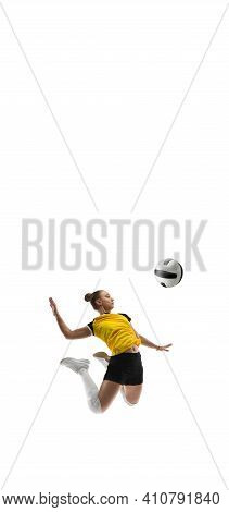 Flyer. Young Female Volleyball Player Isolated On White Studio Background. Woman In Sportswear Train