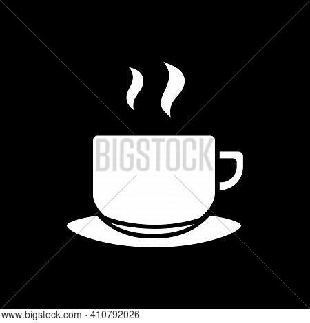 Hot Tea Mug Dark Mode Glyph Icon. Steaming Drink In Mug. Coffee With Scent. Cafeteria Menu Beverage.