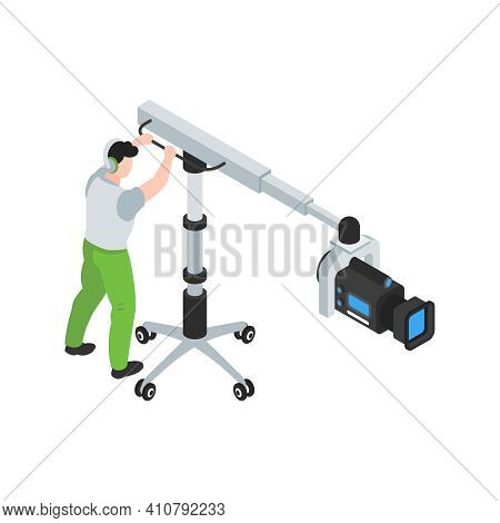 Isometric Cinematography Composition With Isolated Character Of Cameraman With Camera On Wheel Stand