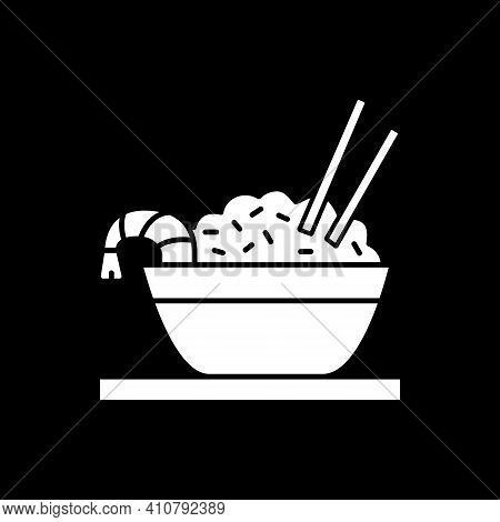Rice With Prawn Dark Mode Glyph Icon. Bowl With Seafood Dish. Asian Cuisine. Indian Culinary. Cooked