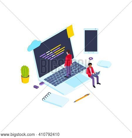 School Subjects Isometric Composition With Images Of Laptop And Smartphone Among Stationery Goods Ve