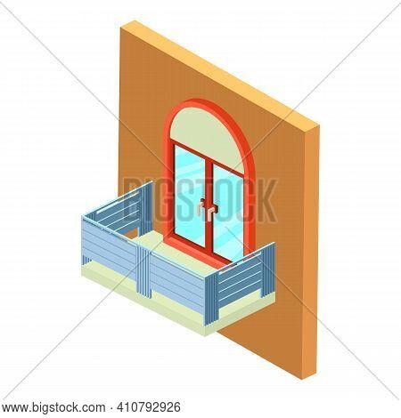 New Balcony Icon. Isometric Illustration Of New Balcony Vector Icon For Web