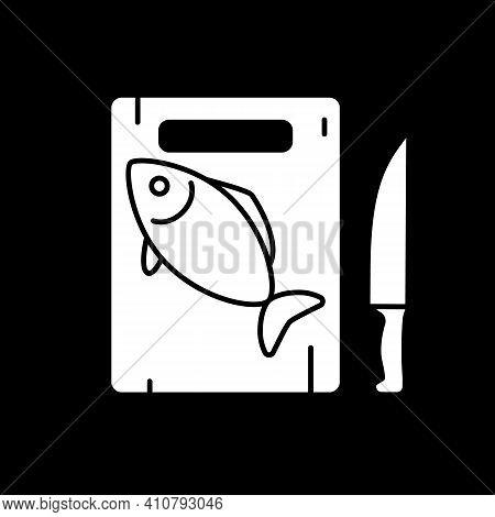 Fish On Cutting Board Dark Mode Glyph Icon. Salmon Preparation. Fresh Codfish. Prepare Cafe Dinner.