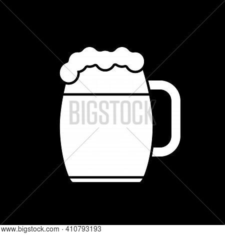 Beer Mug Dark Mode Glyph Icon. Drinking Alcohol In Pub. Cup With Lager, Ale With Froth, Stout In Pin