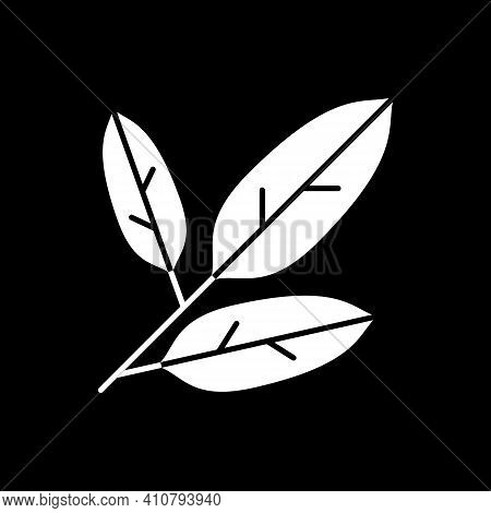 Herbs Dark Mode Glyph Icon. Tea Leaves. Botanical Plants. Dietary Eating. Dressing And Seasoning Ing