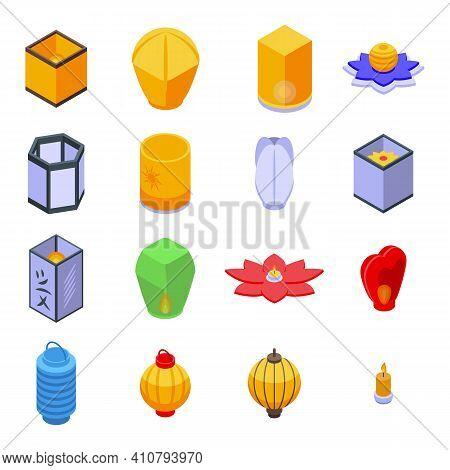 Floating Lantern Icons Set. Isometric Set Of Floating Lantern Vector Icons For Web Design Isolated O