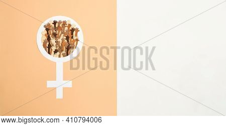 Equal Sign Between Gende On The Planet. Gender Equality Symbol On Yellow Background. Sign Of Womens