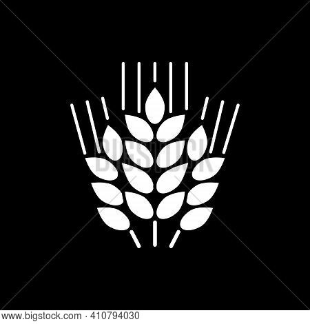 Wheat Ears Dark Mode Glyph Icon. Grain Crop. Farmers Harvest. Staple Food. Ingredient For Baking Bea
