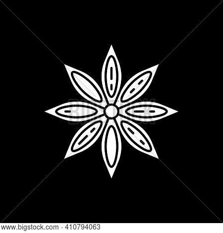 Anise Star Dark Mode Glyph Icon. Seasoning For Food Flavoring. For Mulled Wine. Herb For Cooking. In