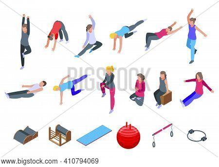Pilates Icons Set. Isometric Set Of Pilates Vector Icons For Web Design Isolated On White Background