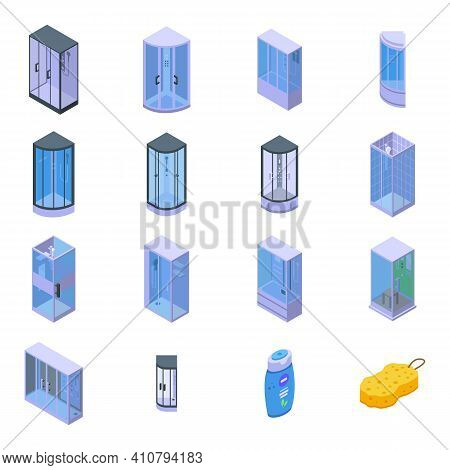 Shower Stall Icons Set. Isometric Set Of Shower Stall Vector Icons For Web Design Isolated On White